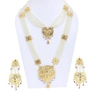 Golden Color Kundan Jewelry with White and Red Pearls