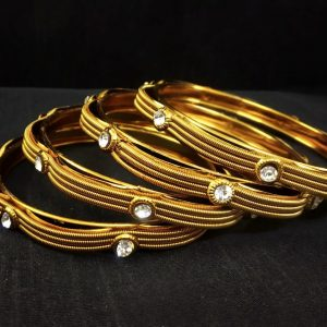 Gold Plated Bangles made in Kundan