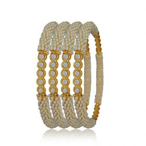White stoned Indian Bangles set