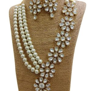 White Stone Bridal Kundan Jewelry Set