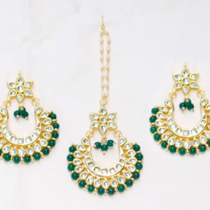 Green Stoned Kundan Jhummar with Earrings